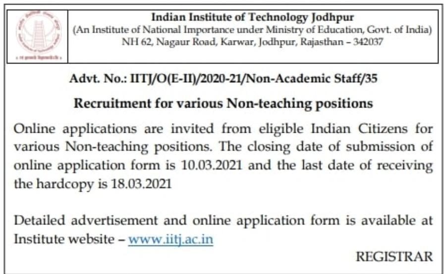 IIT Jodhpur Bharti 2021