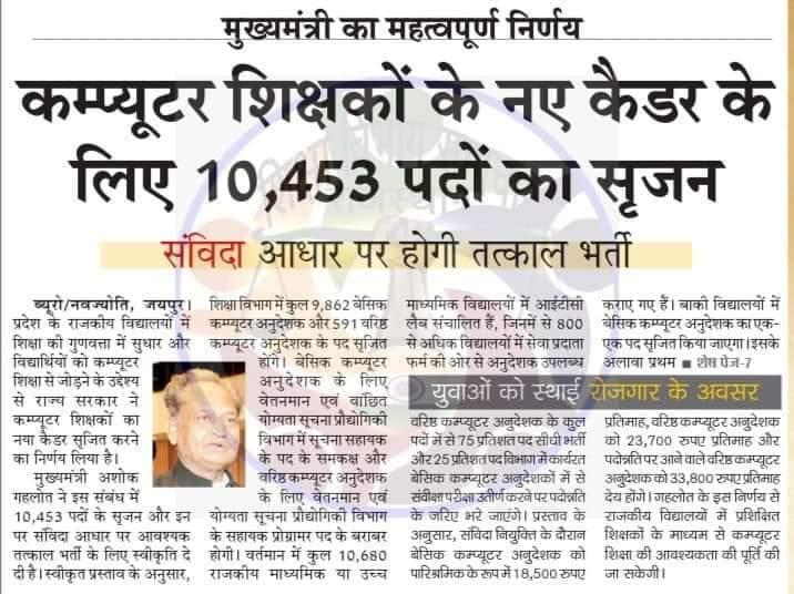 Rajasthan Computer Teacher Bharti 2021