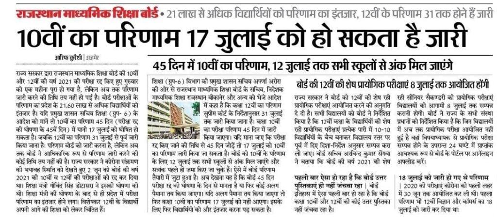 Rajasthan 10th Board Result 2021