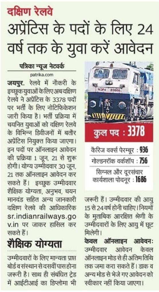 Southern Railway Apprentice Bharti 2021