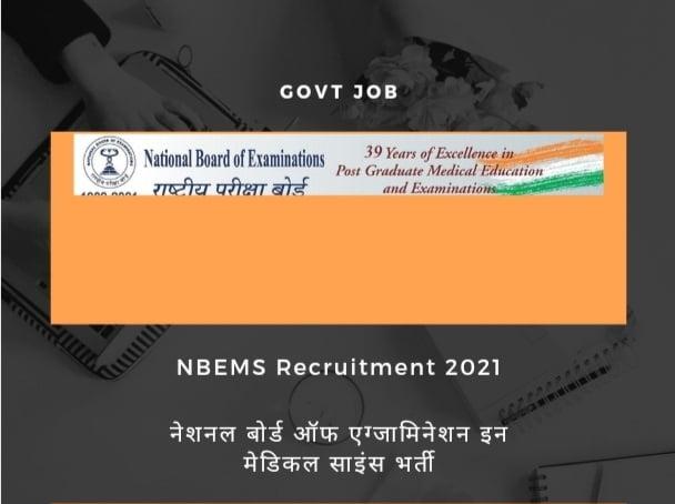 NBE Recruitment 2021