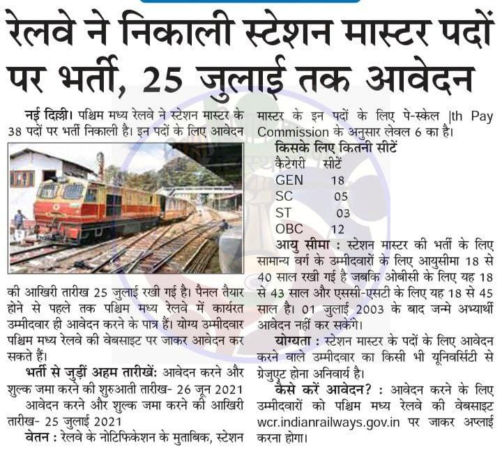 Railway Station Master Bharti 2021