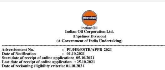इंडियन ऑयल भर्ती 2021